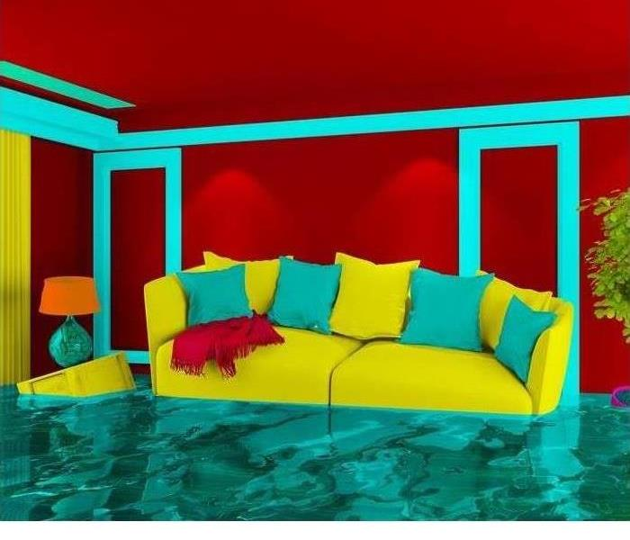 A flooded living room is shown